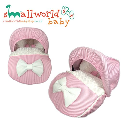 personalisierbar Pink Streifen und Kunstfell Baby Autositz Fußsack mit Kapuze