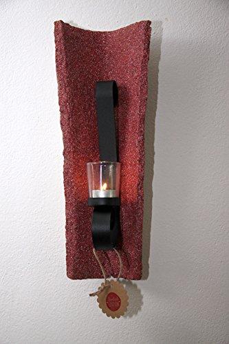 Kerzenhalter antiker Dachziegel rot mit Glas für Teelicht
