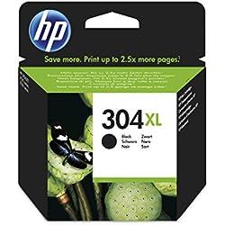 Hewlett Packard 304XL Black Original, Cartucho de tóner adecuado para DJ3720, Negro
