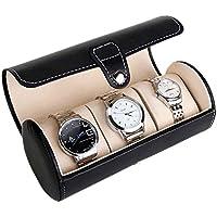 Asvert Boîte Rond à Montres Présentoir à Bijoux en Cuir Coffret de Braclets Elégant (3 montres, Noir)