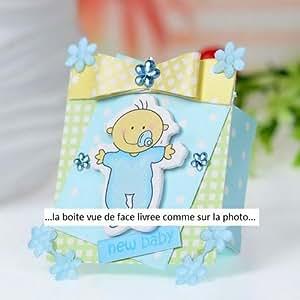 lot 10 boites dragees bapteme bebe totoche bleu