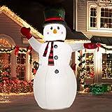 PXDTZ Aufblasbarer Schneemann XXL 240Cm LED-Beleuchtung Befestigungsmaterial Deko Schneemann Weihnachten, Weihnachtsdekoration, Figur, Geräuscharmes Gebläse