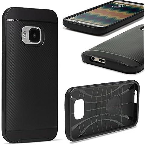 URCOVER® Case Cover Protettiva | Custodia HTC One M9 | Guscio Flessibile in Silicone TPU e Bumper Paraurti in Nero | Antishock Anticaduta Indistruttibile Due Parti Hybrid