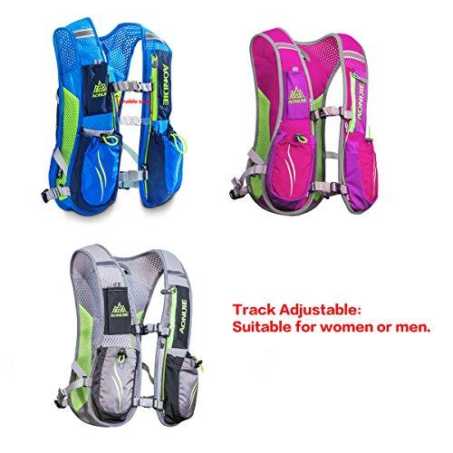 Geila Outdoors Sport Trail Marathonläufer Running Hydratationsrucksack Rucksack mit 2 Wasserflaschen Blau