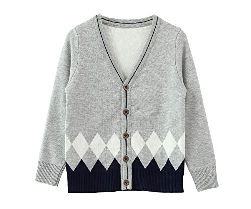 Zhuannian Boys V Neck Cardigan Long Sleeve Button Down Knitted Top Argyle Sweaters (6-7 Years,Grey)