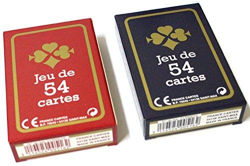 lot de 2 Jeux de 54 cartes Gauloise France carte cadeaux fête bleu roug