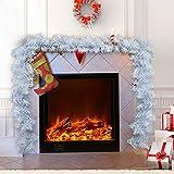 hotbesteu 2.7M Tannengirlande Künstliche Girlande Weiß Dekoration Weihnachtsgirlande Weihnachten Deko Einfach Tannen Girlande