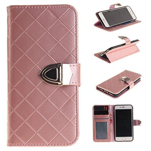Luxus Premium PU Ledertasche Gitter Stil Metall magnetischen Verschluss Flip Stand Case Case Brieftasche Fall Deckung Solid Color Case für IPhone 7 ( Color : Coffee , Size : IPhone 7 ) Pink