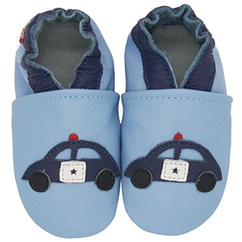 Carozoo Voiture De Police Bleu Clair.(Police Car Light Blue), Chaussures Bébé Semelle Souple Fille