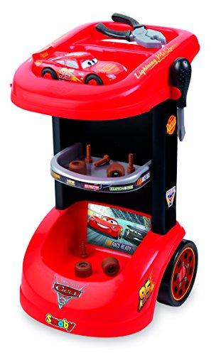 Smoby 360209 - Cars Werkzeugtrolley mit Lightning McQueen Autobausatz