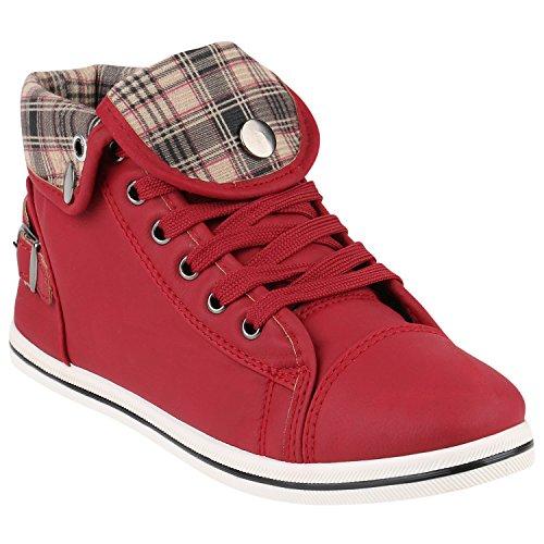 Mulheres Sapatilhas Superiores Altas Strass Sapatos Desportivos Com Zíper Karo Vermelho