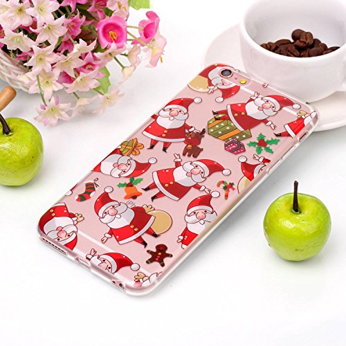 Coque iPhone 6S , Etui iPhone 6 , Transparent TPU Case Noël Motif Mode Silicone Slim Souple Étui de Protection Flexible Peinture Soft Cover Anti Choc Ultra Mince Integrale Couverture Bumper Caoutchouc Fête