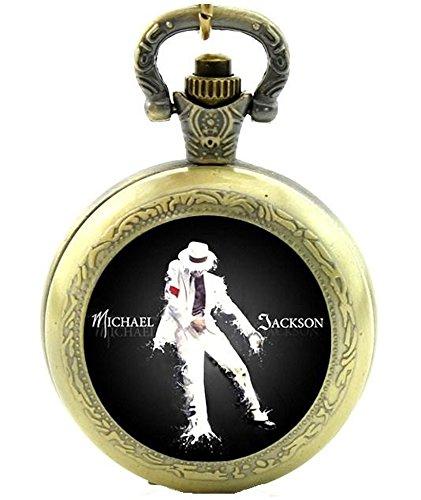 Michael Jackson King of Pop Quarz Taschenuhr Halskette–Antik Bronze Effekt–in Geschenkbox mit gratis Ersatz Batterie