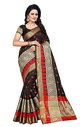 Ecolors Fab Banarasi Cotton with Blouse Piece (Saree_Black Free Size)