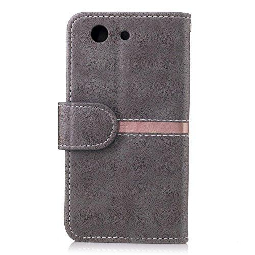 Sony Z3 MINI Case Cover, Premium PU Leder horizontalen Flip Stand Case mit Halter & Wallet & Card Slot & Foto Frame für Sony Z3 MINI ( Color : Black , Size : Sony Z3 MINI ) Gray