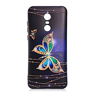 Redmi Note 5 Case, Redmi 5 Plus Silicone TPU Back Cover, Asnlove Shockproof 3D Relief Prints TPU Gel Shell with [Anti-Slip] [Ultra-Thin] for Redmi Note 5/Redmi 5 Plus, Gold Butterfly