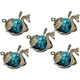 Crafticia Oxidized White Silver Metal Single Duck Shaped Glass Bowl Turquoise Set Of 5 Decorative Antique Unique Traditional Handmade Handicraft Gift Item Home Table Wall Decor Pink City Rajasthani Showpiece :- 5 X 5 Inch