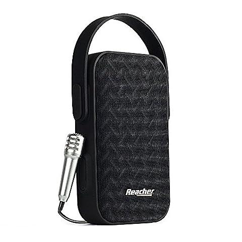 Reacher Karaoke Enceinte Bluetooth Portable Haut-parleur Sans Fil avec Microphone filaire mini chant, Micro SD, USB, pour les enfants Adultes