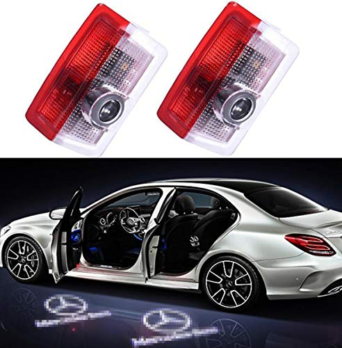2PCS Car Door Lights Liuer 3D Laser Ghost Shadow Logo Light Projector LED Door Lamp Courtesy Gate Welcome Logo for Benz A Class B Class C Class E Class W205 W176 W212 W166 W246 GLC GLE GLS GLA
