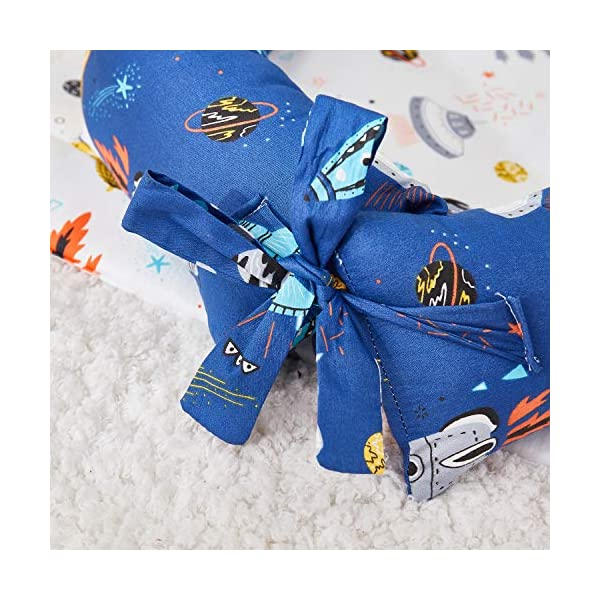 TEALP Multifunctional Baby Nest Navy Blue Galaxy Outer Space, Baby Bassinet for Bed/Lounger/Nest/Pod/Cot Bed/Sleeping, Breathable & Hypoallergenic Cotton (0-24 Months) TEALP 【Breathable and Hypoallergenic Cotton】hypoallergenic materials, breathable and non-toxic. We use 100-percent cotton fabric and breathable, hypoallergenic internal filler, which is safe for baby's sensitive skin. It will give your child serene, safe, and sound sleep in their lovely co sleeping crib. 【Adjustable Design】1 baby nest, 90x55x15cm;1 pillow30x30cm, Suitable for 0-24 Month. GROWS WITH YOUR BABY. Being adjustable, the side sleeper grows with your baby. Simply loosen the cord at the end of the bumpers to make the size larger. The ends of the bumpers can be fully opened. 【Multifunctional and Portable】 Use the infant nest as a bassinet for a bed, baby lounger pillow, travel bed, newborn pillow, changing station or move it around the house for lounging or tummy time, making baby feel more secure and cozy. 7