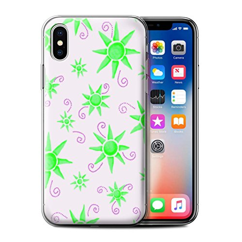 Stuff4 Gel TPU Hülle / Case für Apple iPhone X/10 / Gelb/Weiß Muster / Sonnenschein Muster Kollektion Grün/Weiß