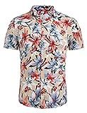 Keelied Herren Kurzarm Baumwoll Blumen Drucken Hawaiihemd Strandhemd Freizeit Reise Urlaub Party Hemd