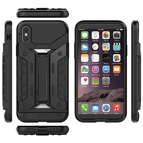 Apple iPhone X 10 Hülle – STRONGcase – mit integriertem Kartenfach und Ständer | Ultra-Robust | Perfekter Grip durch Rutschfestes Design | Schmutzabweisend | ZaPro® Deutschland Qualitätsgeprüft (Gold) Schwarz