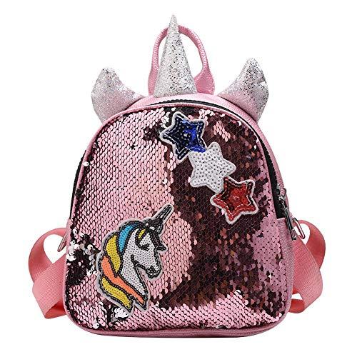 Demiawaking Zaino con Paillettes Glitterati Decorato Stelle e Corno Zainetto Glitter Carino Bambina Stile Preppy Zaino da Viaggio Casual Borsa da Scuola per Bambina Ragazze (Rosa)