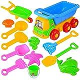 Rolanli Strand Spielzeug Set, 13 Stücke Sandspielzeug Kinder Strand Schubkarre Spielzeug für Sandstrand Outdoor - Farbe Zufällig
