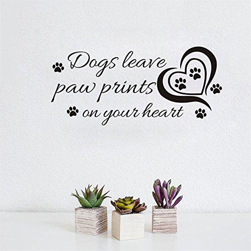 Wandtattoo Kinderzimmer Neue Hunde hinterlassen Pfotenabdrücke auf Ihrem Herzen für Pet Salon Pet Shop