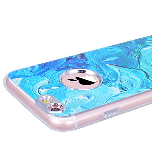 GrandEver iPhone 6 Plus/iPhone 6S Plus Hülle Weiche Silikon Handyhülle TPU Bumper Schutzhülle für iPhone 6 Plus/iPhone 6S Plus Rückschale Klar Handytasche Anti-Kratzer Stoßdämpfung Ultra Slim Rückseit Blau