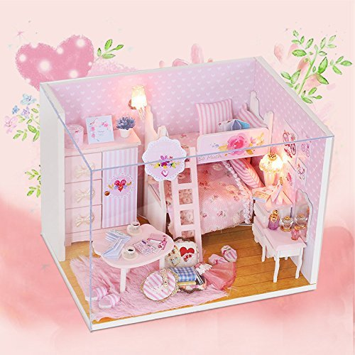 FunRun Süße DIY Puppenstube mit Miniatur Möbel, Puppenhaus Miniatur Puppenhaus Moebel DIY Dollhouse Kit Kinder Geschenk mit Led Licht - Miniaturen Puppenhaus Möbel