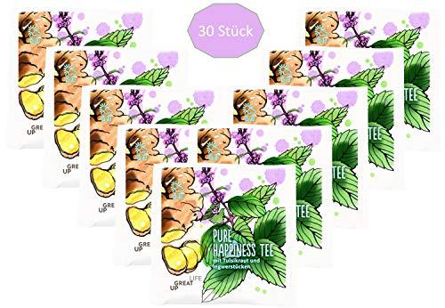 Pure Happiness Functional Tee Mix (30 Beutel). Tulsi Rooibos Tee mit Orangenschalen, Ingwer und Kardamom | Zur Begleitung einer Cleansing Diät Kur | Vitalität | Anti-Stress | Basen Tee