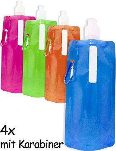 OUTDOOR SAXX® - 4x Faltbare Platz-sparende Trink-Flasche mit Karabiner | Rucksack Fahrrad Wandern Festival Flugzeug | faltbar farbig 500ml 4er SET