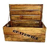 Holzkiste, klein (28x42x23cm),Vintage, Weinkiste, Obstkiste mit Deckel und Aufdruck