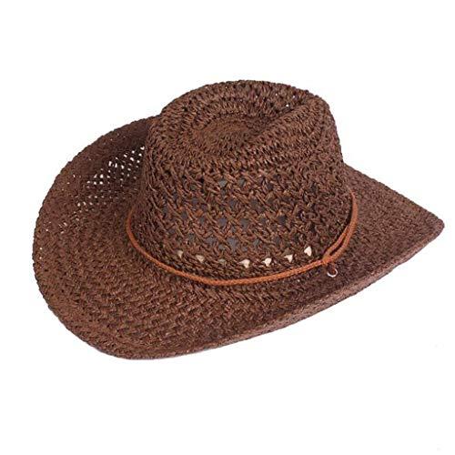 VRTUR Sommerhut Stroh Panamahut Damen Herren Modehut Cowboyhut UV Schutz Gärtnerhut Hut mit Ziergürtel Faltbarer Strohhut Sonnenhut Kaffee -