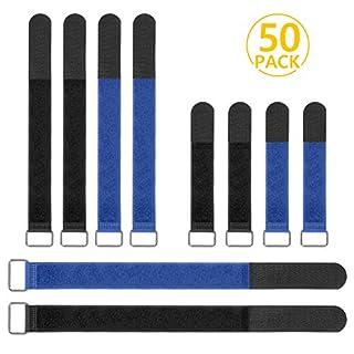 Foonii 50 Stücke Schnalle Klettkabelbinder Kabelklett, Nylon Wiederverwendbare Klettband Klettverschluss für den Vielseitigen Einsatz im Kabelmanagement, 2 Verschiedene Größen (Schwarz + Blau)