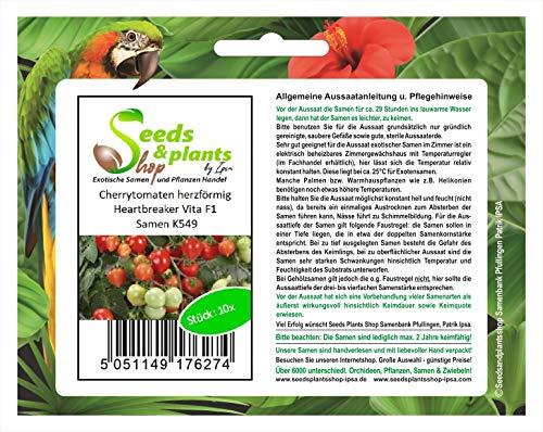 Stk - 10x Cherrytomaten, herzförmig, Heartbreaker Vita F1 - Tomaten Samen Gemüse K549 - Seeds Plants Shop Samenbank Pfullingen Patrik Ipsa