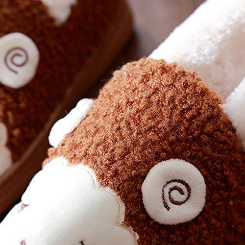 Inverno fankou pantofole di cotone coppia femminile di arredamento per la casa con spesse pantofole di intimo maschile caldo autunno inverno simpatico peluche Drei Drachen perlen Rosa