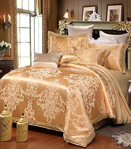 QYZLT Jacquard Satin Steppdeckenbezug Super weiche Jahreszeiten Baumwolle Stickerei hochwertiger Bettbezug Bedruckt Doppelbett Bettbezug geometrisches Muster Double Bed Duvet Set King,XK18001,Queen -