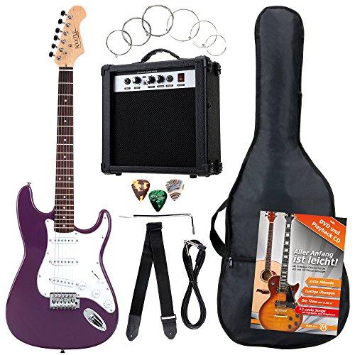 Rocktile Banger's Power Pack 36285 - Guitarra eléctrica, set de 8-piezas, color lila