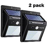 Solarleuchte mit Bewegungsmelder(2 PACK), Soft Digits 20 LEDS Solar Wandleuchte / Bewegungssensor Solarlampei / Wetterfeste / Auto On und Off für Patio, Plattform, Hof, Garten, Weg