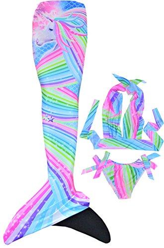 MEERJUNGFRAUEN SHOP AT FINTASTIC Meerjungfrauen Flosse mit Überzug Bikini und Monoflosse Zum Schwimmen und Tauchen (Epic Love, M (145-155 cm))