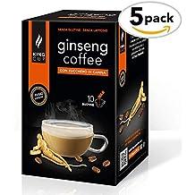 King Cup - Café Soluble al Ginseng con azúcar moreno - 5 paquetes de 10 sobres