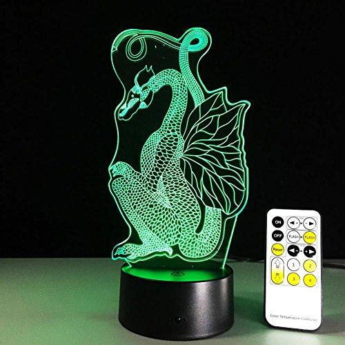 OOFAY LIGHT® 3D LED Nachtlicht Lampe Dragon Optical Illusion Touch 7 Farbwechsel mit Acryl-Flat, ABS-Kunststoff-Basis, USB-Ladegerät Tisch Schreibtisch Schlafzimmer Dekoration Licht (Dragon Touch-lampe)
