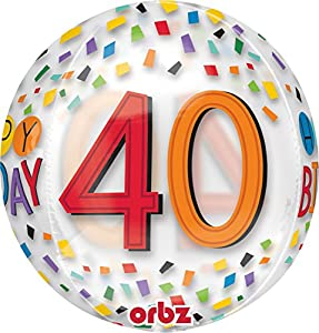 Amscan International 3517001 Happy 40th Birthday Rainbow - Globo de Papel de Aluminio