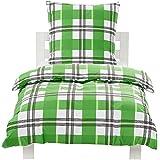 AmazonBasics - Juego de funda de edredón y funda de almohada (100% algodón, 135 x 200 cm y 80 x 80 cm), diseño de cuadros verdes