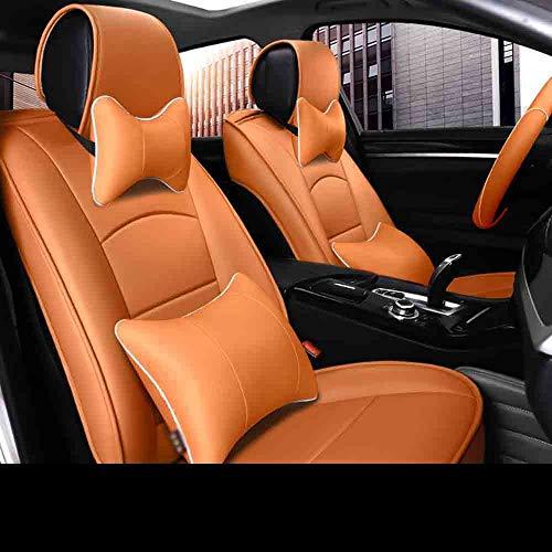 Kevinliu Universal Fit Full Set Echtleder-Autositzbezug (3 Farben), Sitzbezug (passend for die meisten PKW-, LKW-, SUV- oder Van-Modelle) (Farbe : Orange)