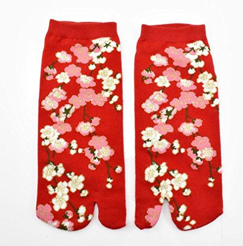Tabi Socken 'Hanabira' Japanische Split 2-toe Ninja Flip Flop Geta Sandale Knöchel Socken (Martial Japanische Kostüm Arts)