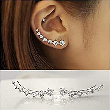 IIOOII Women's Elegant S925 Sterling Silver Earrings Sparkling Hoop Earring